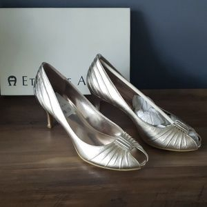 Etienne Aigner Platinum Metallic Heels